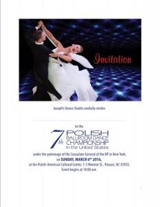 Zaproszenie na 7 Polonijne Mistrzostwa w Tancu Towarzyskim