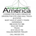 Looking for Class A Driver